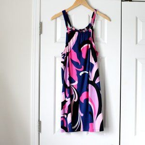 Trina Turk retro pattern stretch dress blue pink